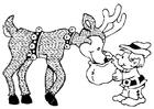 Dibujo para colorear elfo con reno
