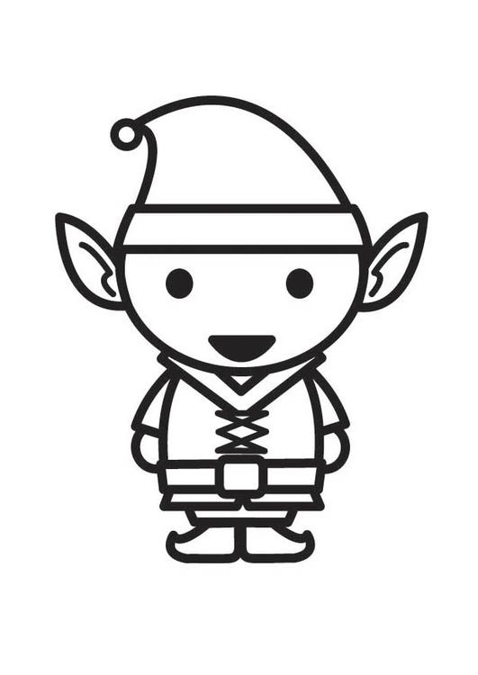 Dibujo para colorear elfo   Img 18293