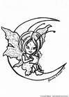 Dibujo para colorear Elfo en la luna