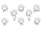 Dibujo para colorear emociones - profesora