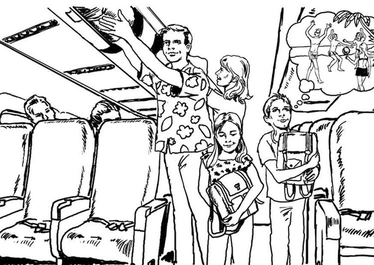 Dibujo Para Colorear Viajar: Dibujo Para Colorear En El Avión