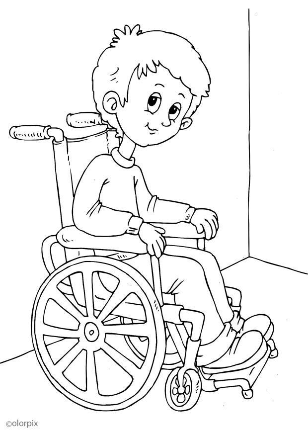 Dibujo para colorear en silla de ruedas img 25903 - Dibujos para dibujar en la pared ...