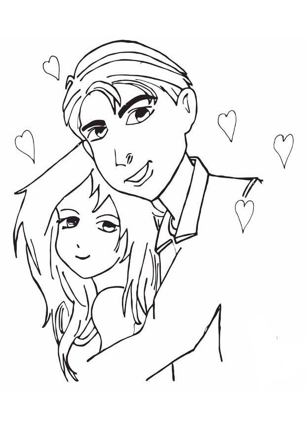 Dibujo Para Colorear Enamorados Dibujos Para Imprimir Gratis