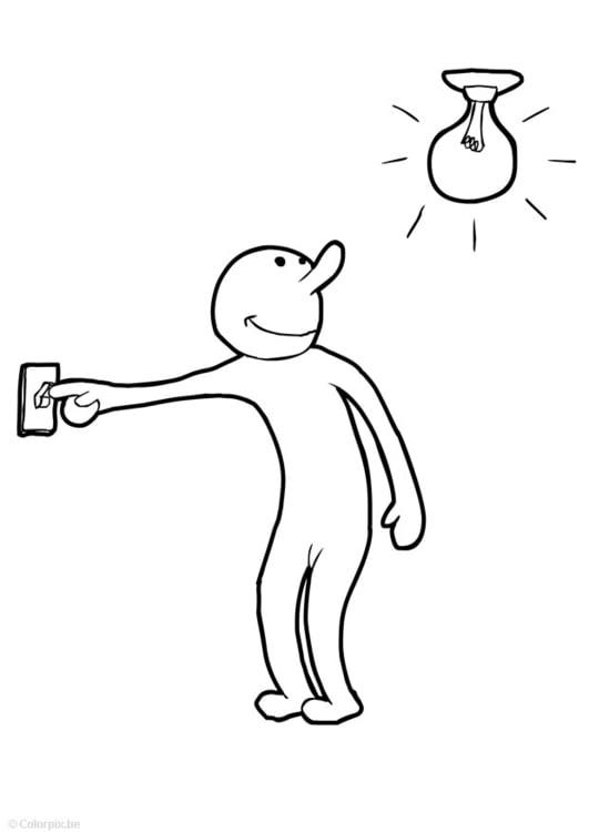 Dibujo para colorear Encender la luz - Img 14746