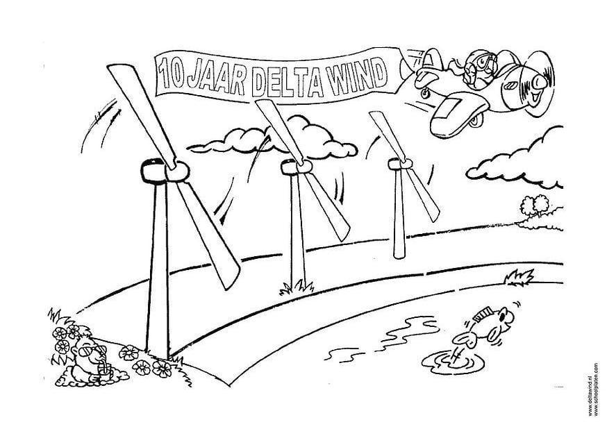 Dibujo Para Colorear Energía Eólica
