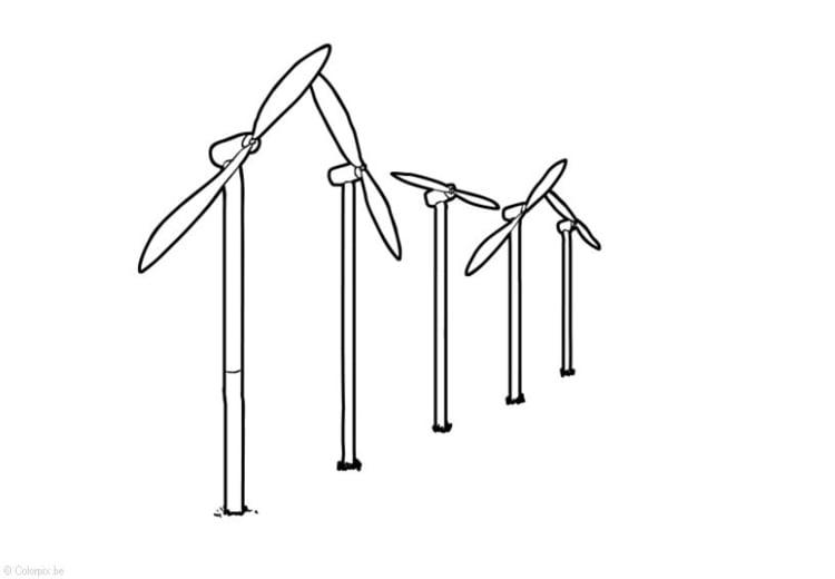 Dibujo Para Colorear Energía Eólica Molinos De Viento Img 14399