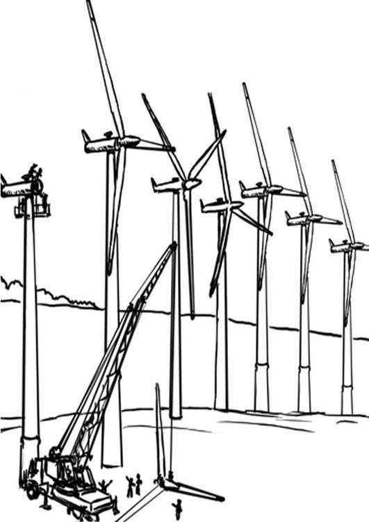 Dibujo Para Colorear Energía Eólica Molinos De Viento Img 7651