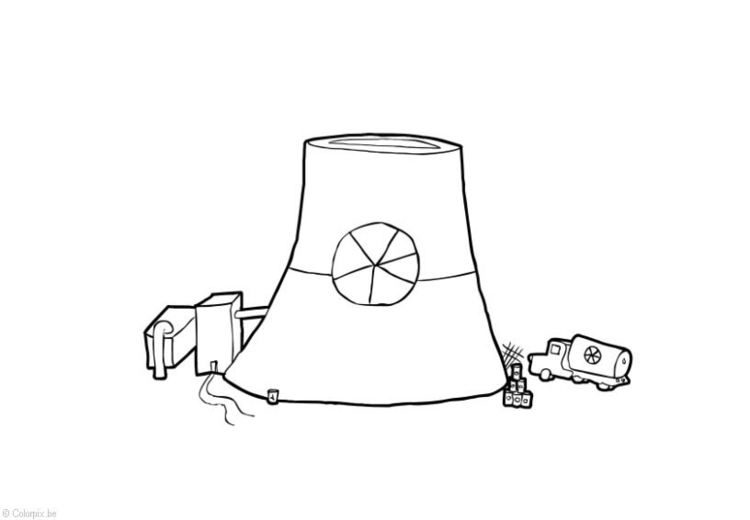 Dibujo para colorear Energía nuclear - central nuclear