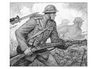 Dibujo para colorear Escena de la primera guerra mundial