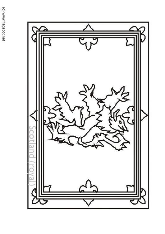 Dibujo para colorear Escocia- bandera real - Img 6152