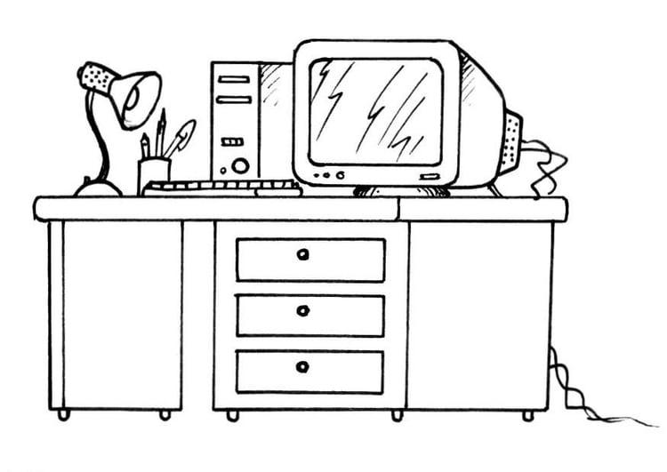 Dibujo Para Colorear Escritorio Con Ordenador