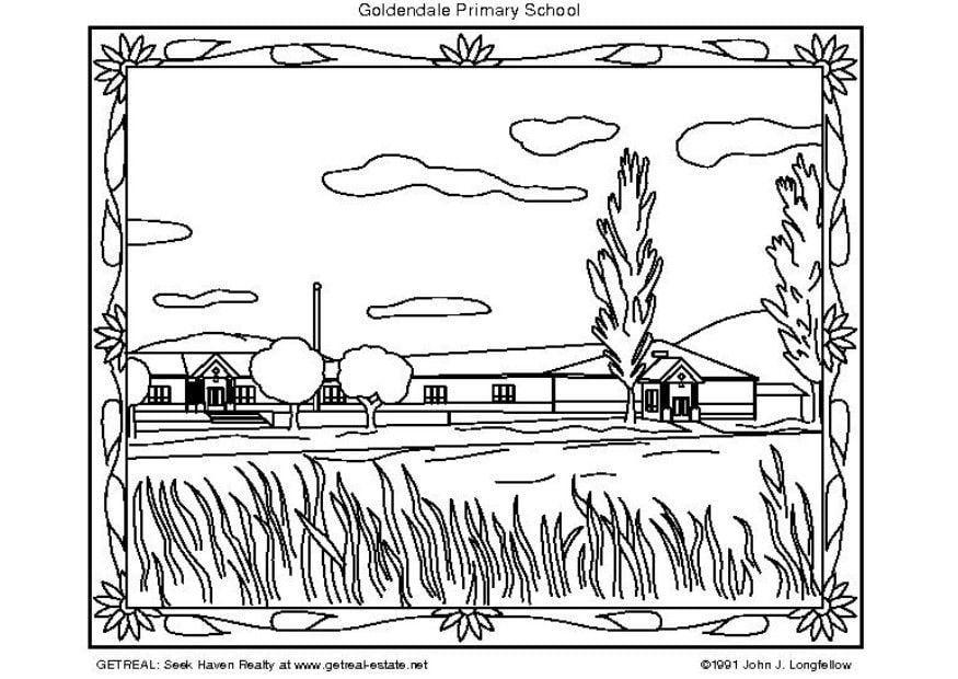 Dibujo Para Colorear Escuela Primaria De Eeuu Dibujos Para