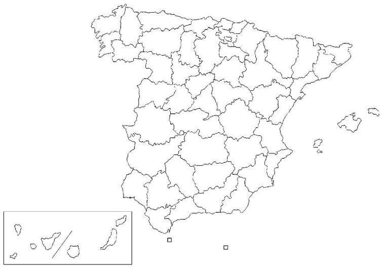 Mapa De España Colorear.Dibujo Para Colorear Espana Provincias Dibujos Para