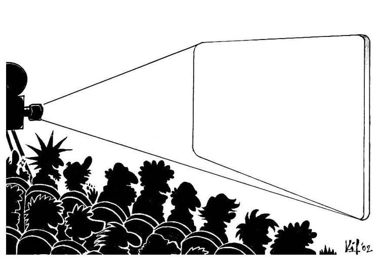 Dibujo para colorear Espectáculo de cine en blanco - Img 8726