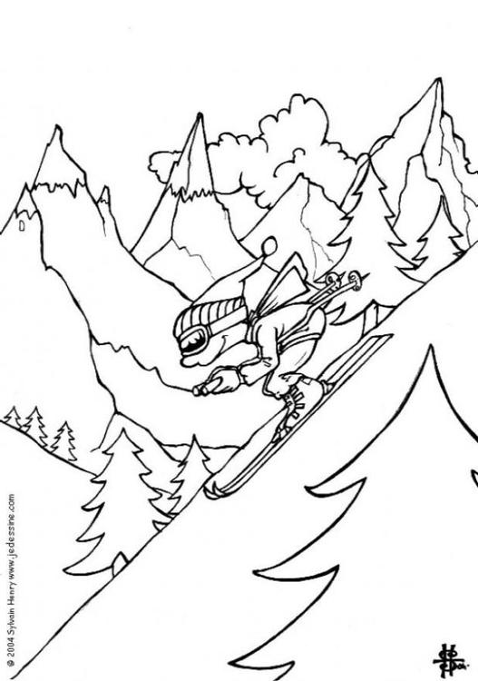 Dibujo para colorear Esquí de invierno - Img 6465