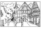 Dibujo para colorear Esquiar - cabaña