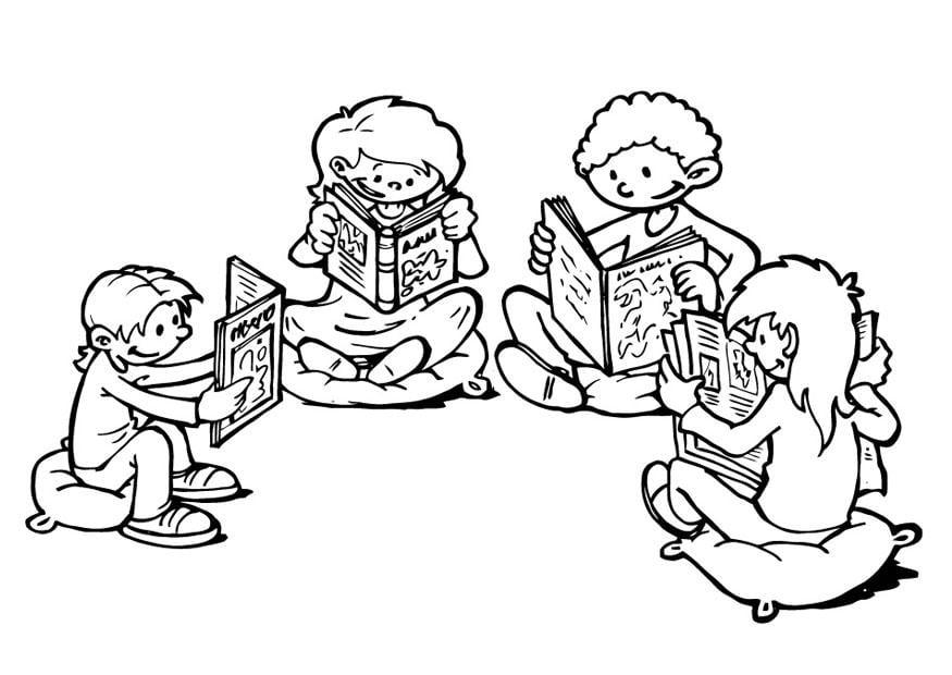 Imagen De Español Para Colorear: Dibujo Para Colorear Esquina De Lectura