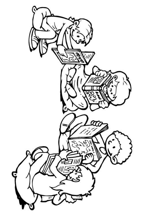Dibujo para colorear esquina de lectura - Img 19303