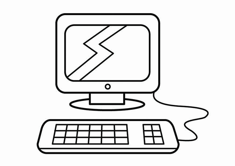 Dibujo para colorear esquina de ordenadores, esquina de