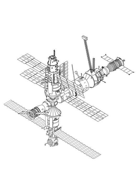 dibujo para colorear estación espacial  img 27330