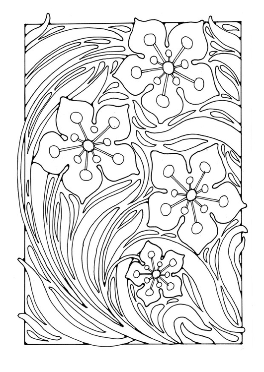 Dibujo para colorear estampado de flores - Img 27760