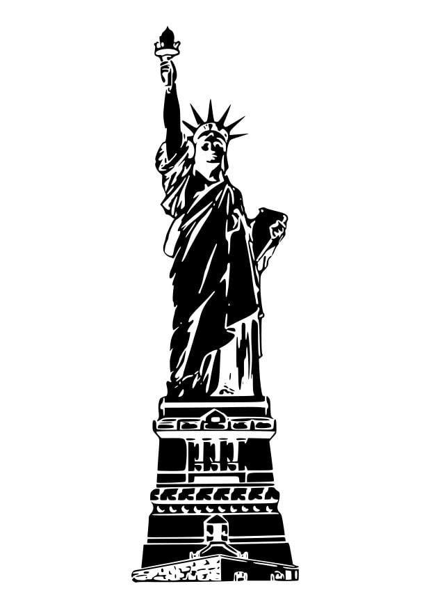 Dibujo para colorear Estatua de la libertad, EEUU - Img 26266