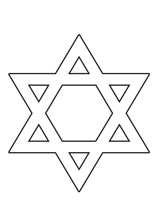 Dibujo para colorear estrella de David - Img 22515