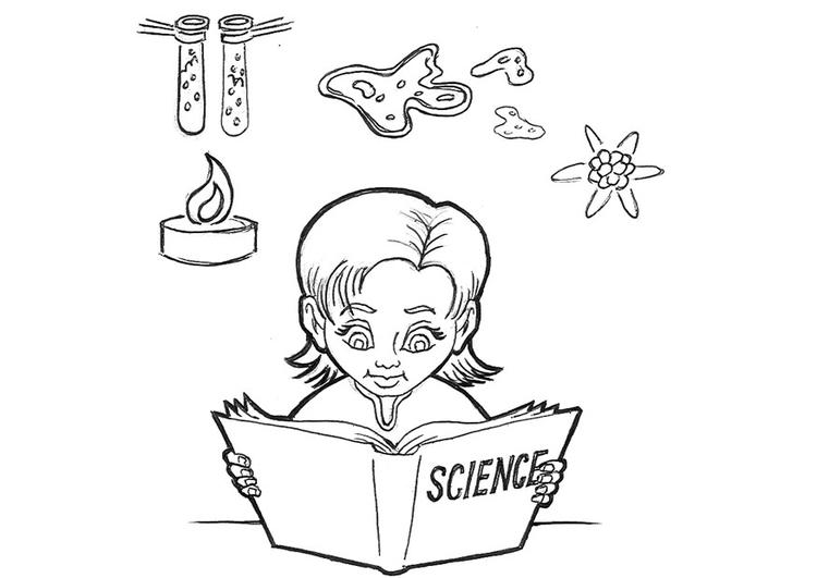 Dibujos Animados De Animales Estudiando: Dibujo Para Colorear Estudiando Ciencias