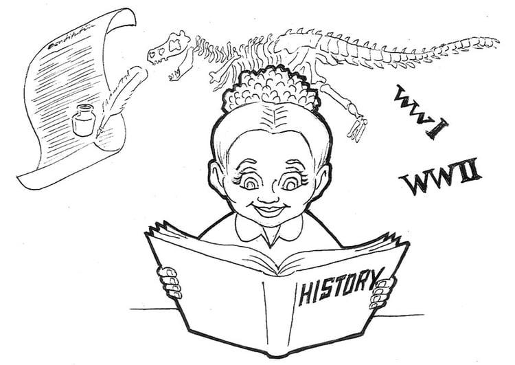 Dibujo para colorear Estudiando historia - Img 9235