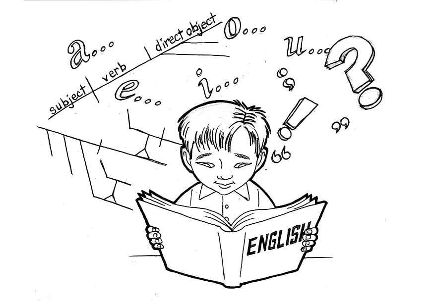 Imagen De Español Para Colorear: Dibujo Para Colorear Estudiando Inglés