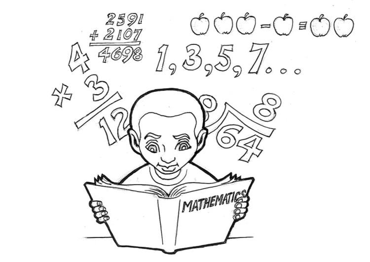 Dibujo para colorear Estudiando matemáticas   Img 16613