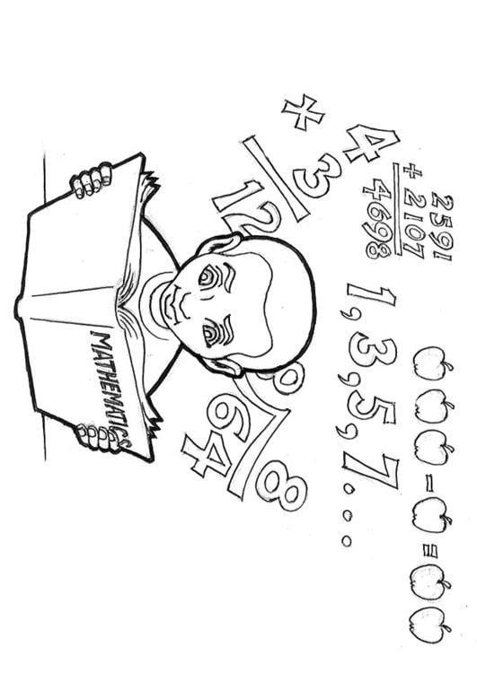 Dibujo para colorear Estudiando matemáticas   Img 9241
