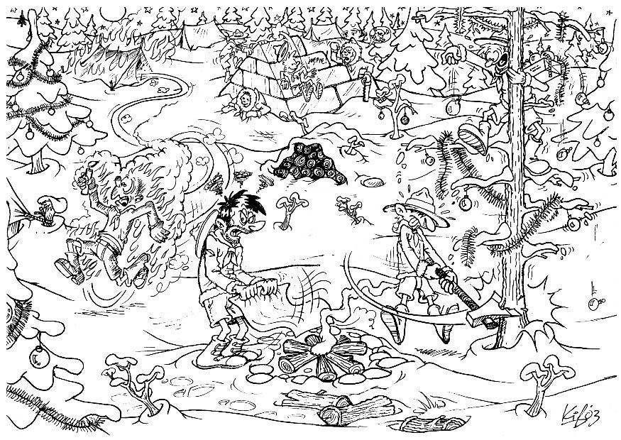 Volwassen Kleurplaat Winter Dibujo Para Colorear Exploradores En El Campamento De