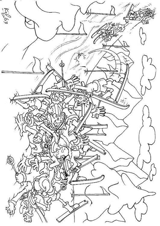 Dibujo para colorear Exploradores en el campamento de invierno - Img ...