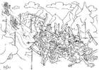 Dibujo para colorear Exploradores en el campamento de invierno