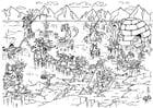 Dibujo para colorear Exploradores perdidos en el camino