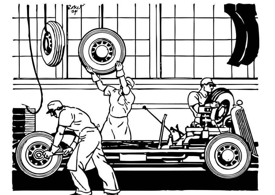 dibujo para colorear fabrica de autom243viles antigua img