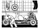 Dibujo para colorear fabrica de automóviles antigua