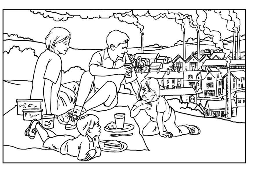 Dibujo para colorear Fábricas, contaminación del aire - Img 14378