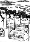 Dibujo para colorear Fábricas, contaminación del aire