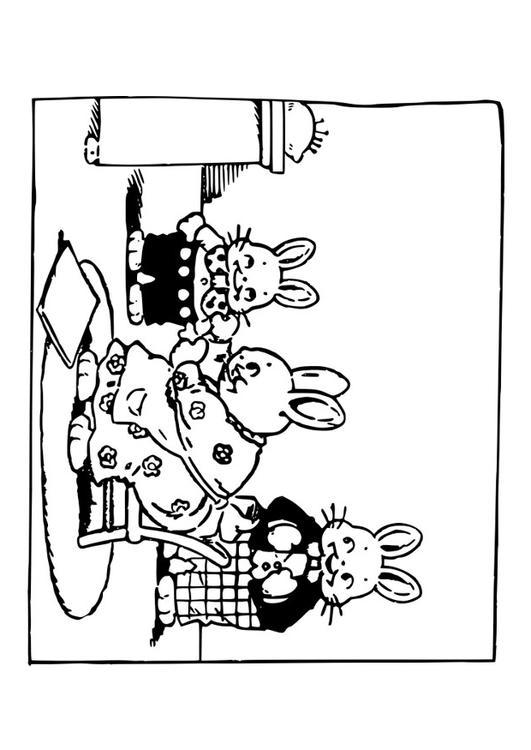 Dibujo para colorear familia de conejos  Img 29297