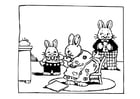 Dibujo para colorear familia de conejos