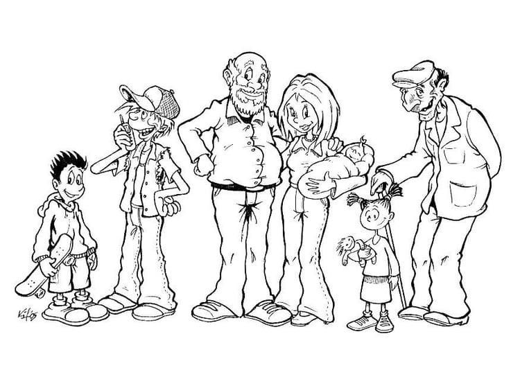 Dibujo Para Colorear Familia De Diferentes Generaciones