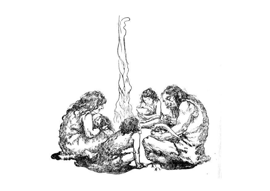 Dibujos De Prehistoria Para Ninos Para Colorear: Dibujo Para Colorear Familia De La Prehistoria