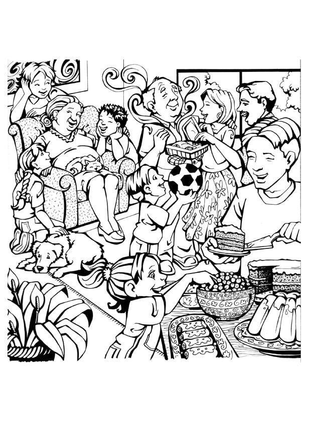 Dibujo para colorear Familia - Img 7087