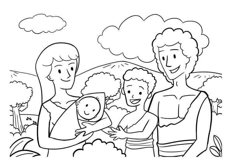 Dibujo para colorear familia - Img 29821