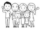 Dibujo para colorear familia