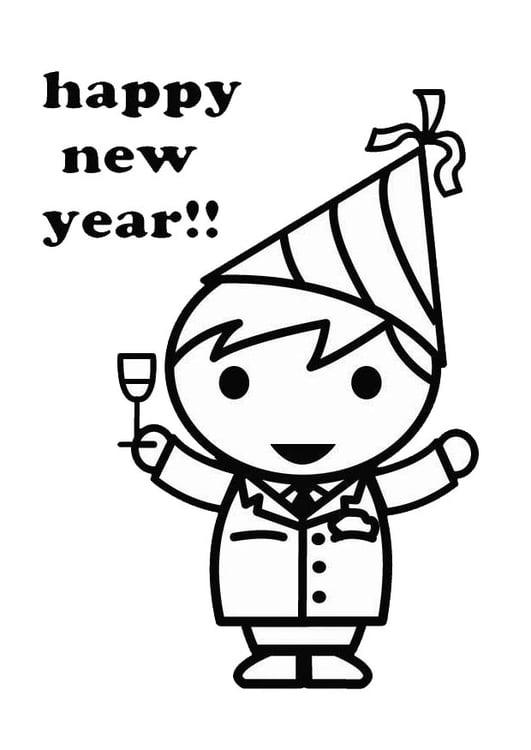 Dibujo para colorear Feliz Año Nuevo - Img 26418