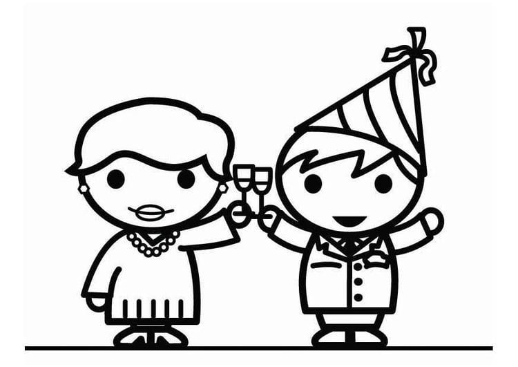 Dibujo para colorear Feliz Año Nuevo ! - Img 26430