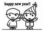 Dibujo para colorear Feliz Año Nuevo